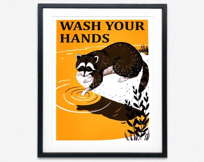 Wash Your Hands Poster Bathroom Poster Bathroom Sink Print