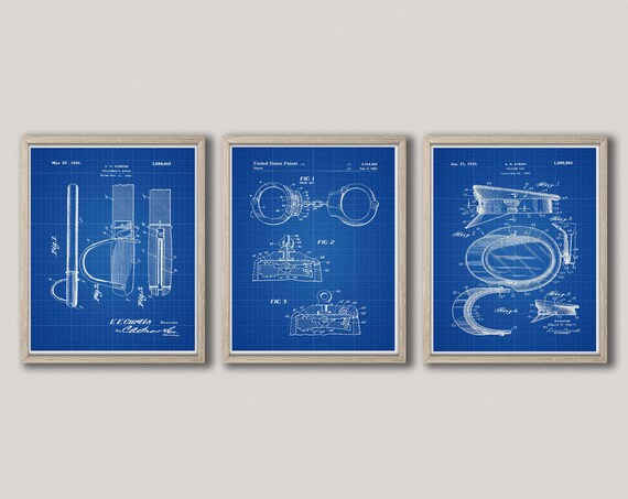 Security Patent Prints Police Gifts Decor for Police Officer Gift