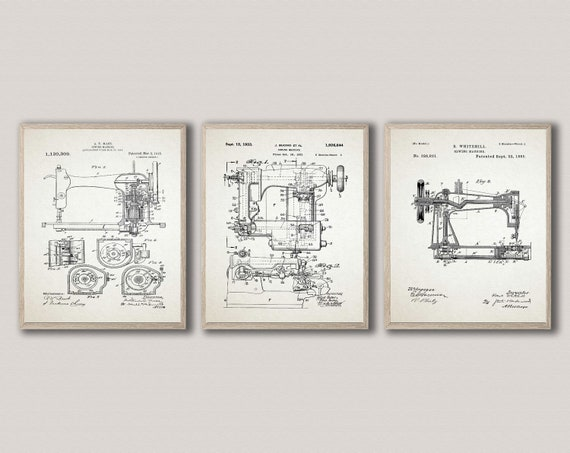 Sewing Machine Posters Set of 3 Sewing Machine Wall Art Sewing Room Art