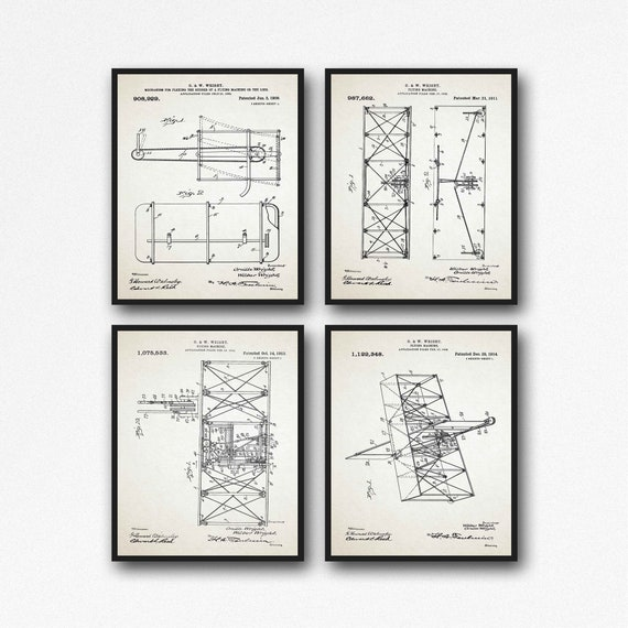 Orville and Wilbur Wright Brothers First Airplane Blueprints Set of 4
