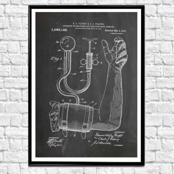 Blood Pressure Print Medical Patent Print for Doctors Surgery (WB394)