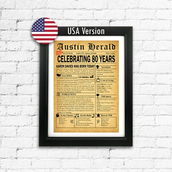 80th Birthday Gift Personalized 80th Gift Custom Newspaper Page Gift