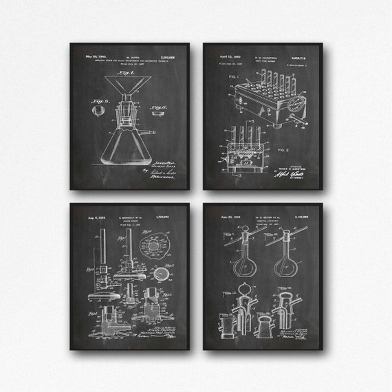 Science Equipment Patent Prints Set of 4 Scientific Invention Posters Lab Technician Gift Science Teacher Chemistry Poster Physics WB382-386