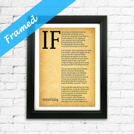 IF poem Framed Print by Rudyard Kipling