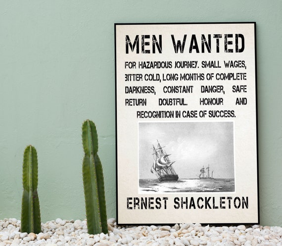 Ernest Shackleton Men Wanted Poster Antarctica Expedition Poster