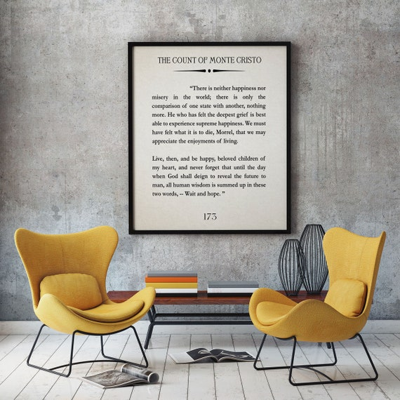 The Count of Monte Cristo Quote Monte Cristo Book Page Alexander Dumas Quote Monte Cristo Wall Art Book Page Large Book Print Book Poster