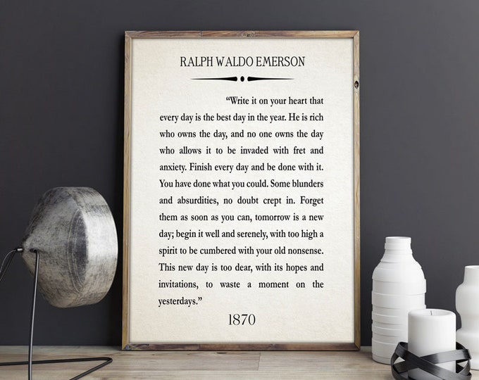 Write it On Your Heart Quote by Ralph Waldo Emerson Quote Waldo Emerson Print Waldo Emerson Art Waldo Emerson Poster No Regrets Poster