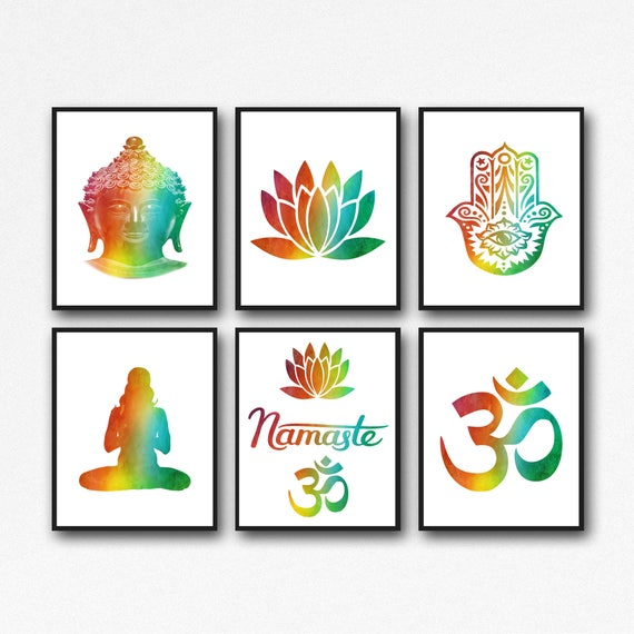 Yoga Poster Set of 6 Yoga Prints Yoga Studio Art Yoga Wall Art Meditation Print Meditation Wall Art Meditation Poster Mindfulness Art