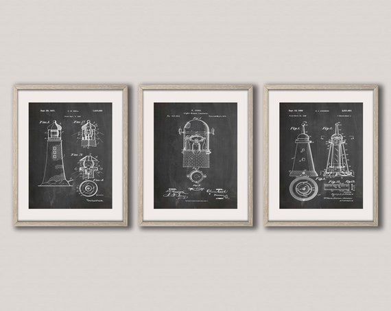 Lighthouse Patent print Set of 3 Lighthouse Prints Light House Decor Lighthouse Art Marine Art Nautical Wall Art Nautical Prints WB251-52-53