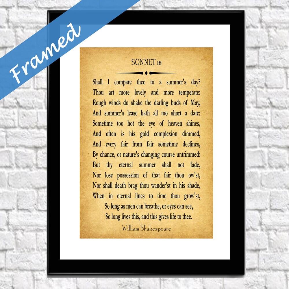 Poem Print Framed William Shakespeare Sonnet 18 Poem Gift for Wife ...