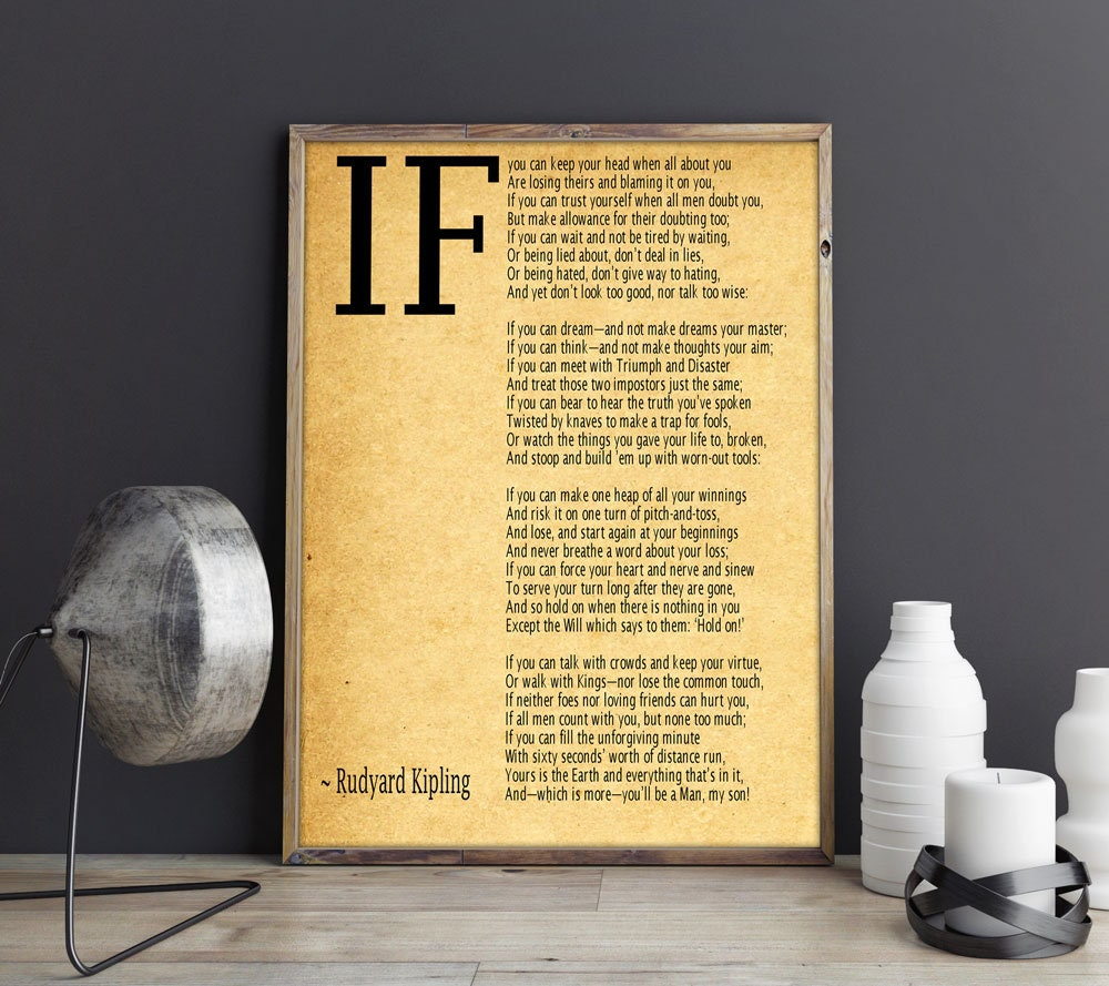 IF Poem Art Print IF Poem by Rudyard Kipling Art Print IF Poster If ...