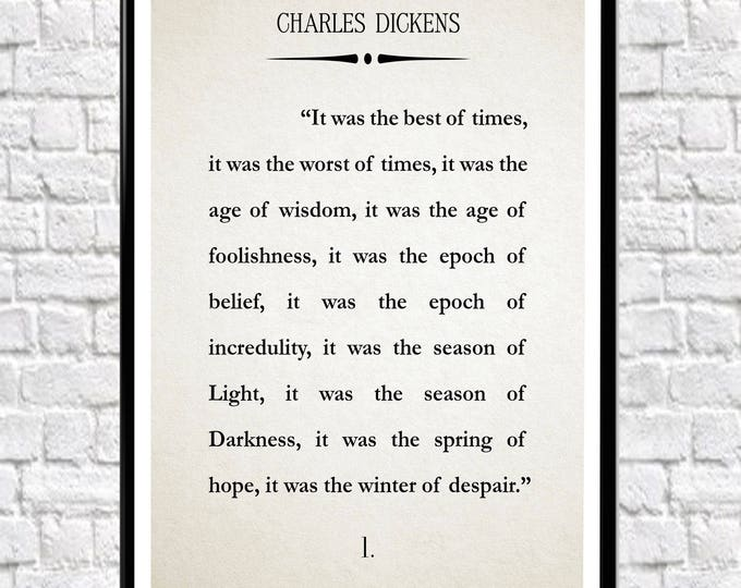 Charles Dickens A Tale of Two Cities Wall Art Literary Print Literary Poster Book Wall Art Vintage Book Art Book Quote Book Literature Gift