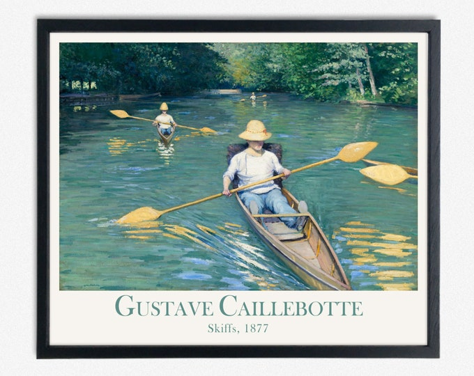 Skiffs Painting 1877 by Gustave Caillebotte