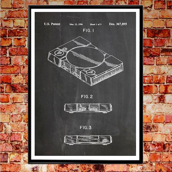 Playstation Poster Playstation Print Playstation Video Game Art Gaming Decor PS4 Wall Art PS4 Patent Print  Wall Art Patent Prints #WB013