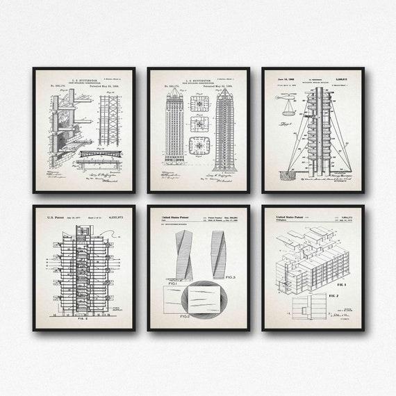 Building Design Blueprints Set of 6 Architectural Drawings
