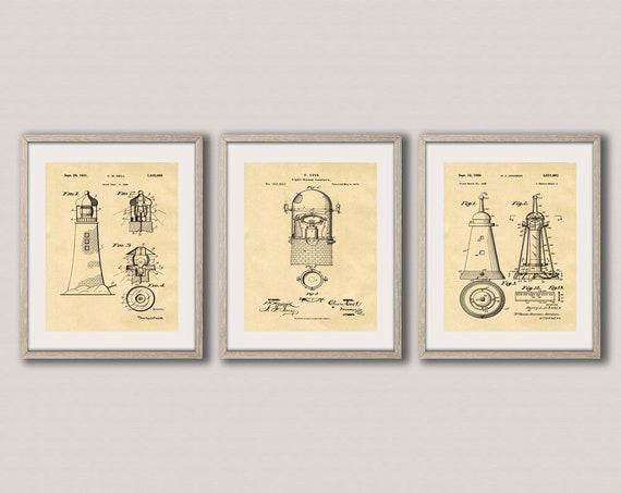Lighthouse Decor Lighthouse Patent Print Set of 3 Nautical Themed Posters Nautical Wall Art Nautical Poster Art Nautical Print WB251-253