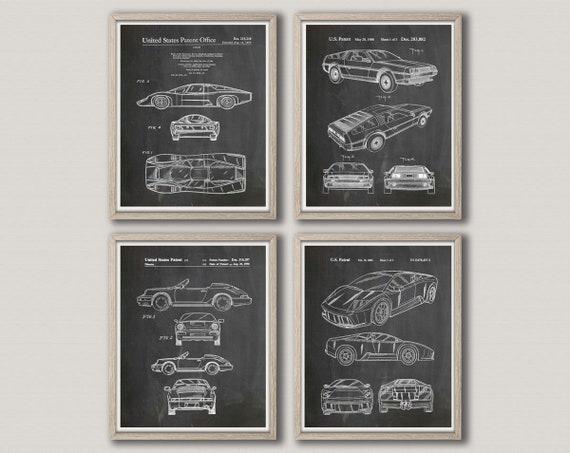 Car Poster Set of 4 Car Patent Prints Vintage Car Prints Car Blueprint Motor Sport Gift Car Mechanic Gift Motor Sport Poster Car Art - WB337