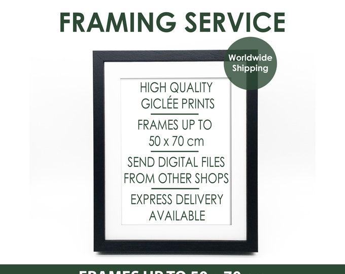 Custom Framing Service Any Print Framed - 4 Frame Color Options