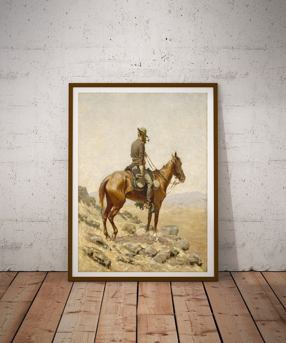 Frederic Remington The Lookout Painting Western Art Western Decor Cowboy Prints Cowboy Decor Remington Painting Remington Art Wild West Art