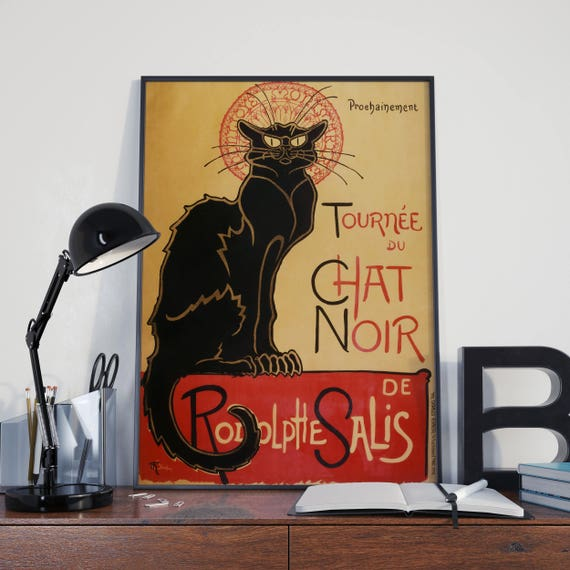 Le Chat Noir Poster by Théophile Alexandre Steinlen Black Cat Poster Iconic Graphic Design Poster French Art French Posters Living Room Art