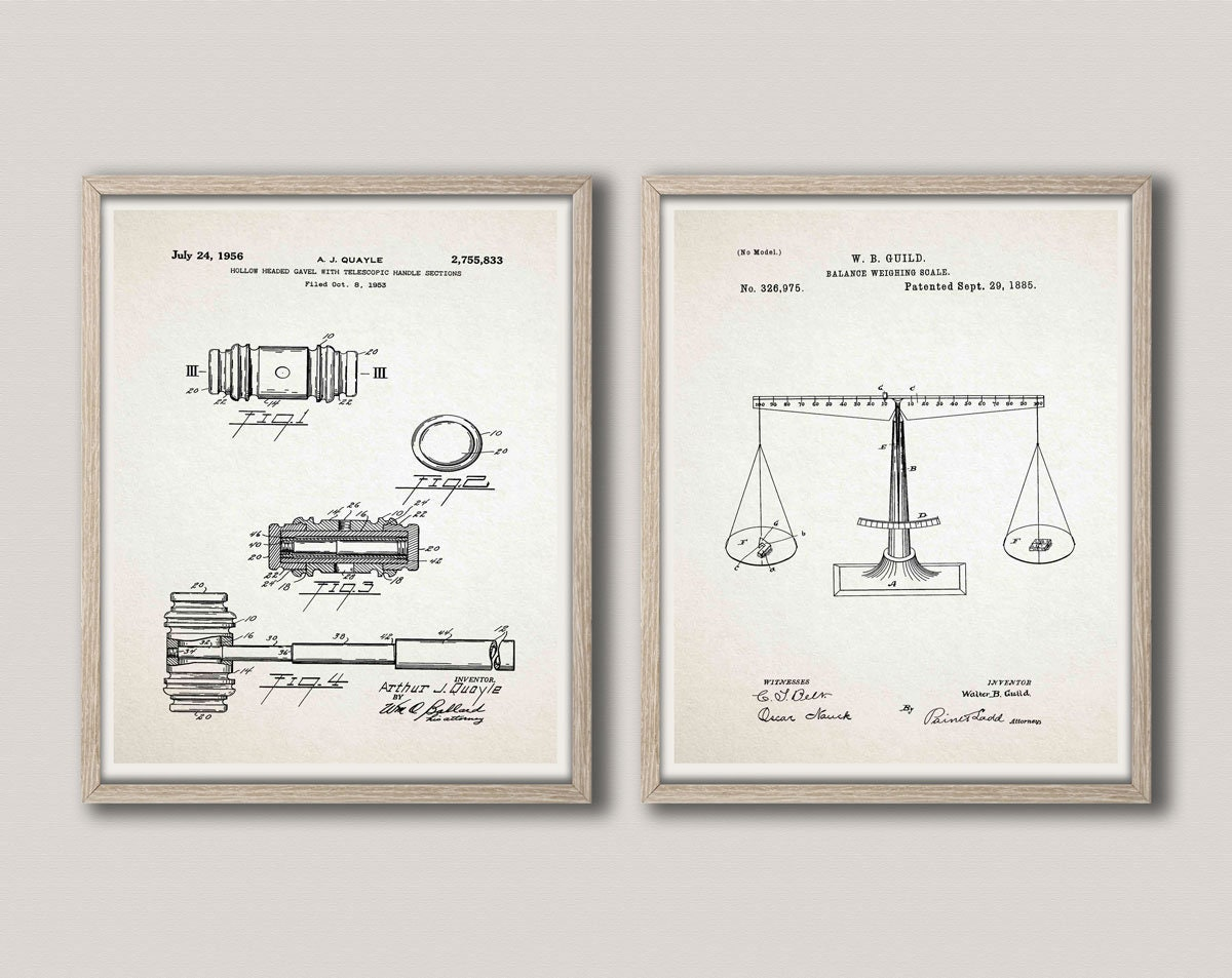 Law Office Patent Prints Attorney Office Wall Art Legal Office Decor Legal  Posters Law Posters Set Of 2 Law Patent Prints Gavel WB388 WB389