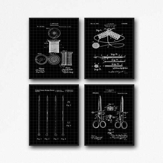 Knitting Posters Set of 4 Knitting Patent Prints Knitting Gift WB510-511-512-495