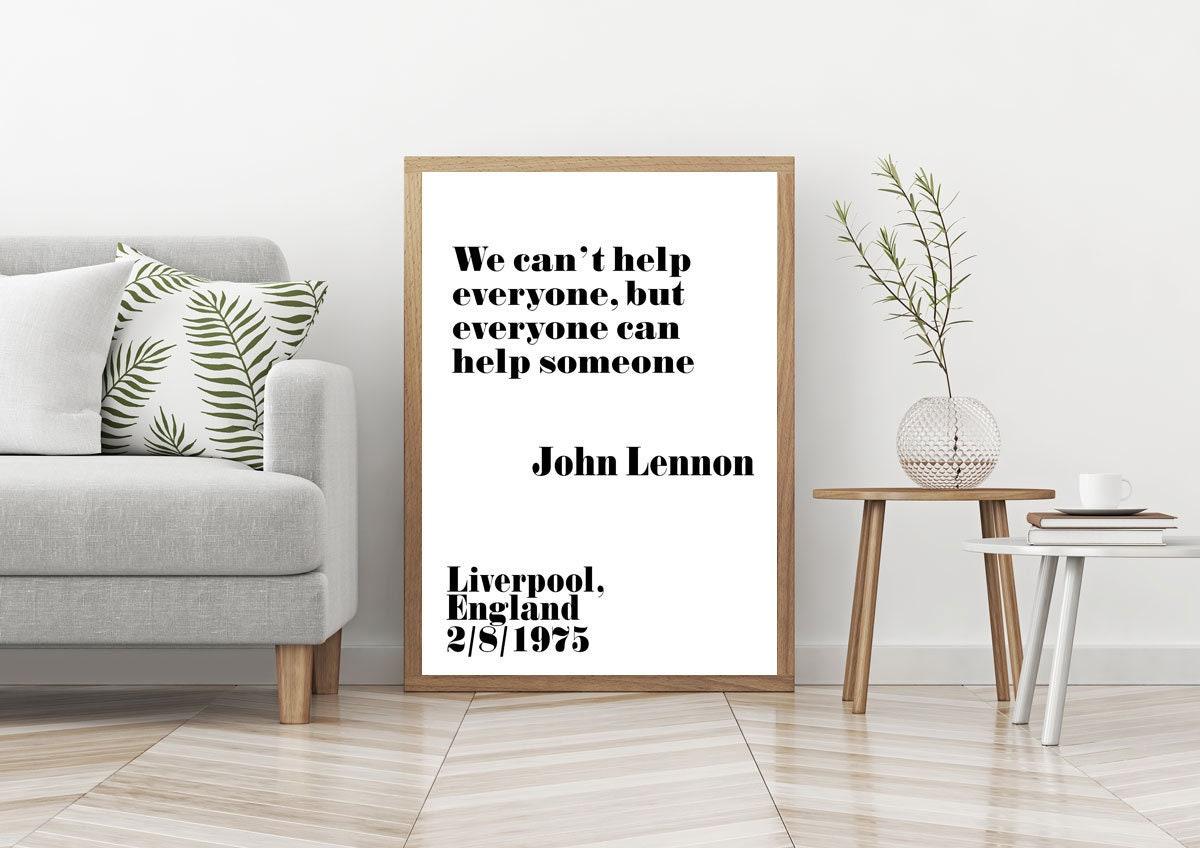John Lennon Quote John Lennon Poster John Lennon Print John Lennon