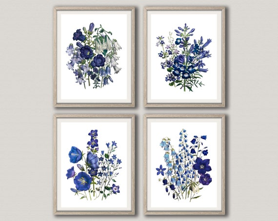 Blue Flower Prints Blue Flower Decor Set of 4 Flower Illustration Art Flowers Decor Living Room Flowers for Kitchen Wall Art WBOT101-WBOT104