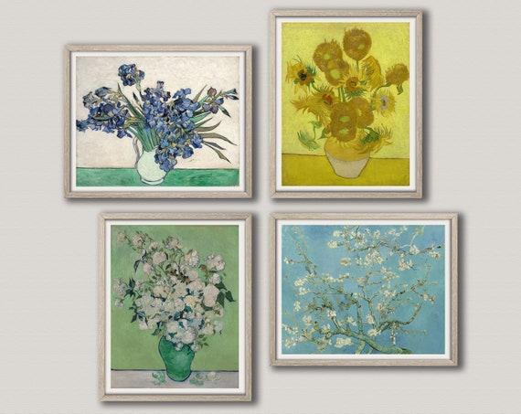 Vincent Van Gogh Irises Roses by Van Gogh Painting Van Gogh Almond Blossoms Vase With Sunflowers Van Gogh Posters set of 4 Paintings