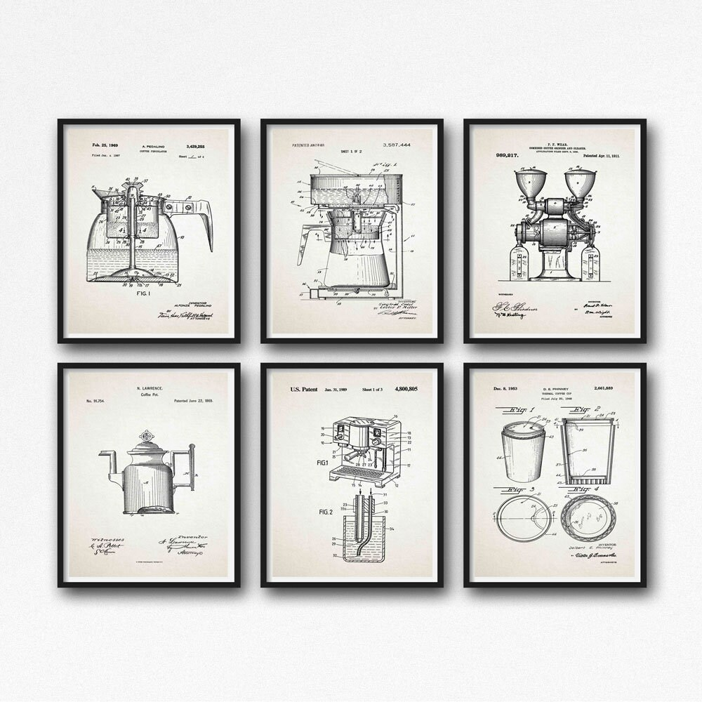 Coffee print set of 6 coffee patent prints coffee blueprint posters coffee print set of 6 coffee patent prints coffee blueprint posters coffee machine decor cafe decor cafe coffee wall art wb266 wb271 malvernweather Gallery
