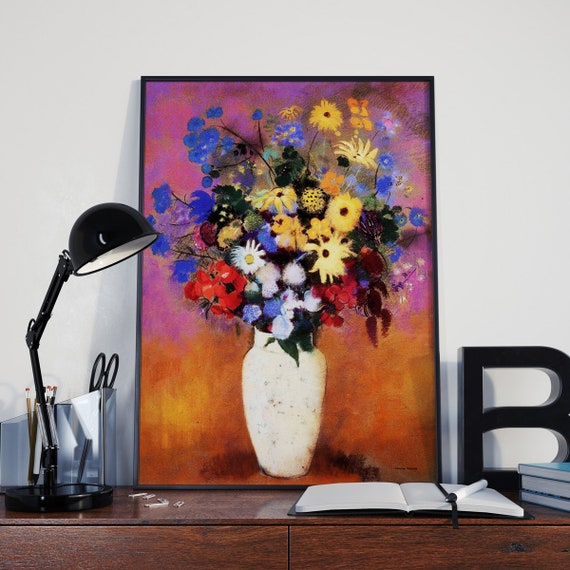 Odilon Redon Vase of Flowers Poster Living Room Decor Painting Art Modern Painting Decor Modern Art Flowers Print Symbolist Painting