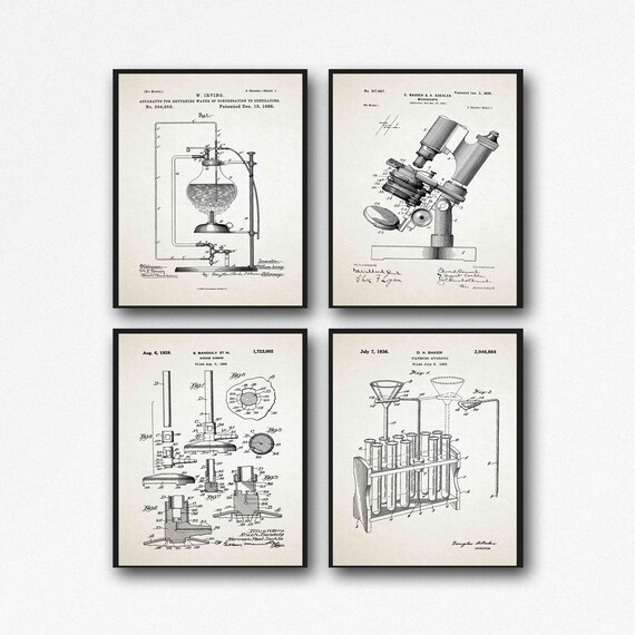Science Posters Scientific Poster Laboratory Decor Science Lab Poster Vintage Microscope Test Tubes Bunsen Burner Science Prints WB380-WB383