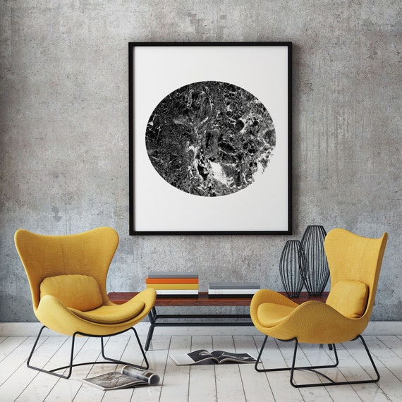 Black and White Marble Decor Marble Print Marble Circle Print