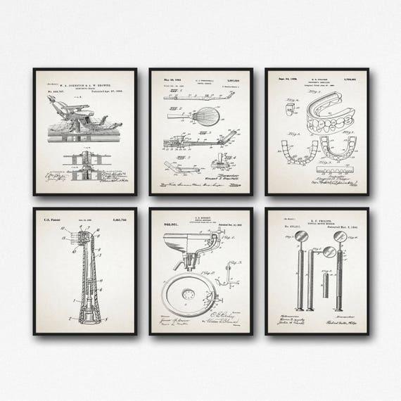 Dentistry Inventions Dentist Patent Prints Set of 6 Dentist Posters Dentist Decor Dentist Wall Art Dentistry Decor Dentist Waiting WB174