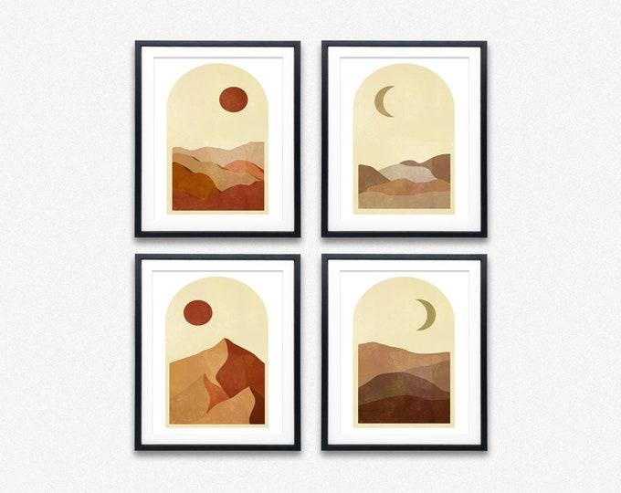 Moon and Sun Boho Prints Set of 4 Modern Celestial Posters