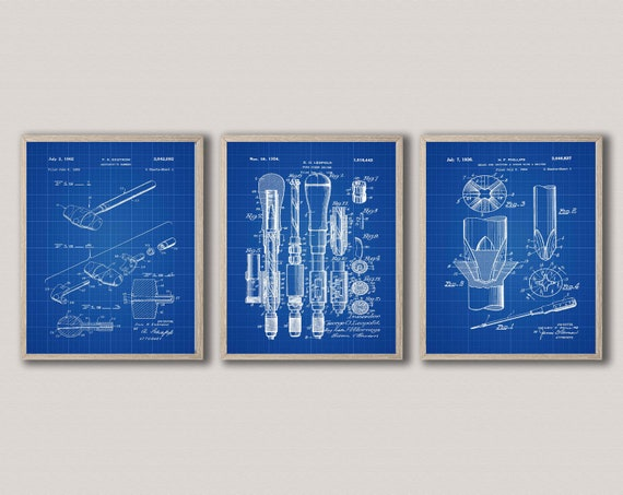Mechanical Posters Set of 3 Mechanical Patents Engineering Workshop Decor WB434-436
