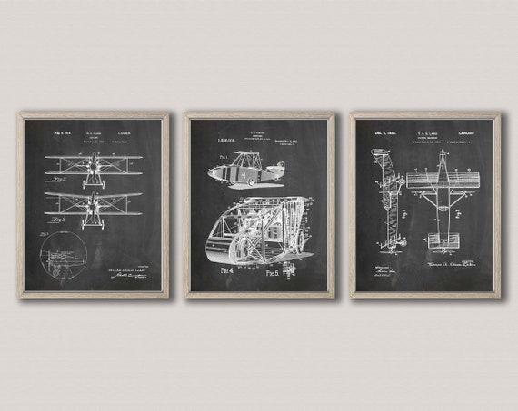 Aviation Patent Prints Aviation Posters Airplane Poster Airplane Prints Airplane Wall Art Airplane Decor Airplane Gift Pilot  - WB312-WB317