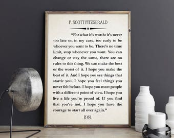 F Scott Fitzgerald Quote Great Gatsby Poster Great Gatsby Wall Art Literary Quote Literary Quote Inspiring Gift Inspiring Christmas Gift