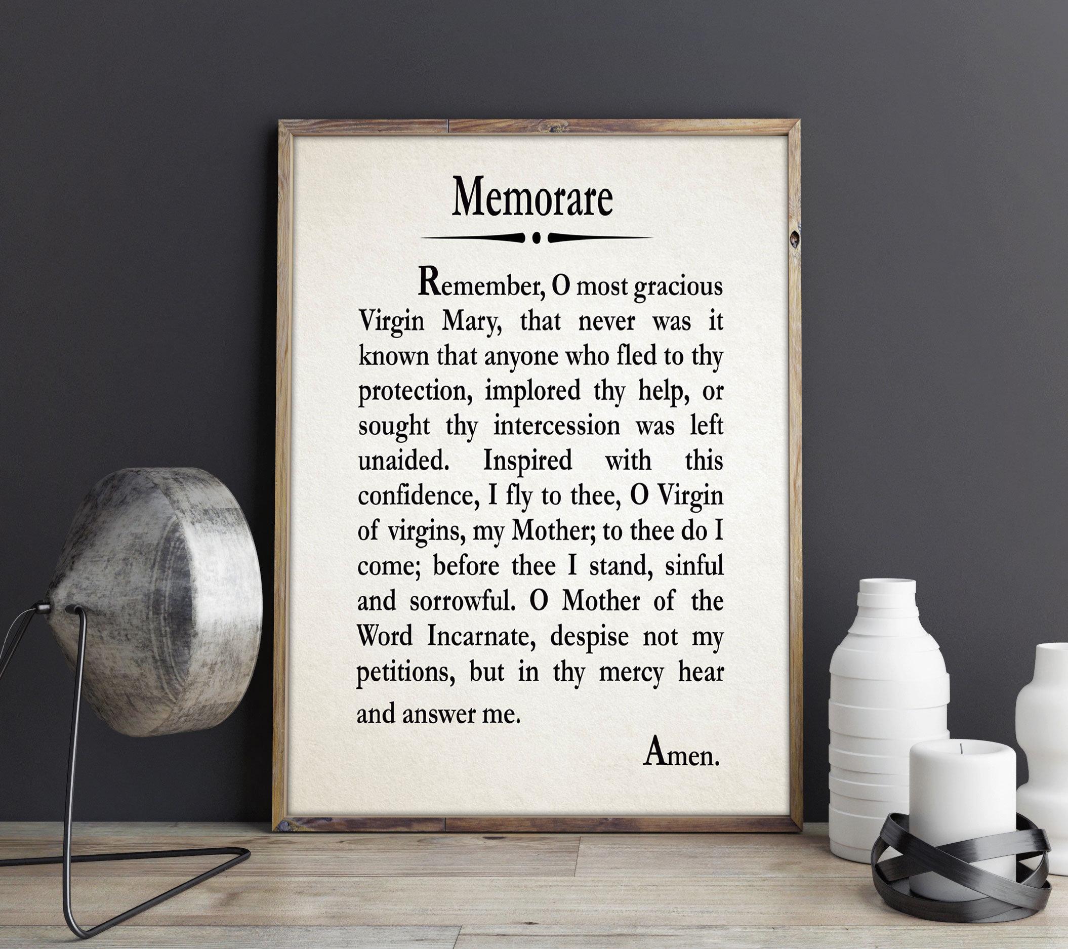picture regarding Memorare Prayer Printable known as Memorare Prayer Catholic Prayer Print Prayer Present for Family members