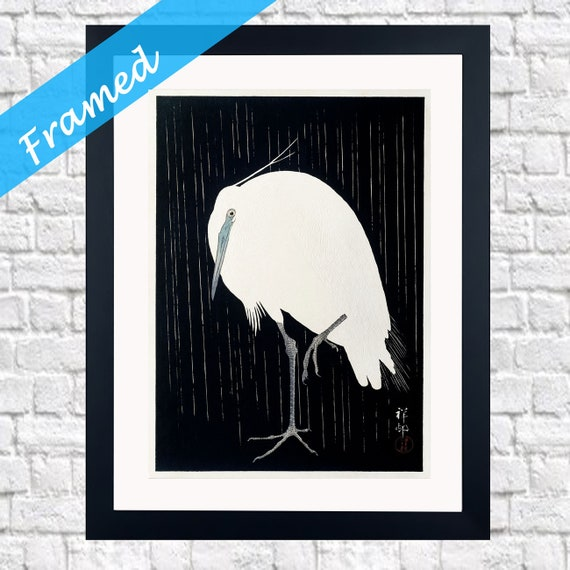 Japanese Woodblock Framed Art Egret in the rain 1925 by Ohara Koson - Framed