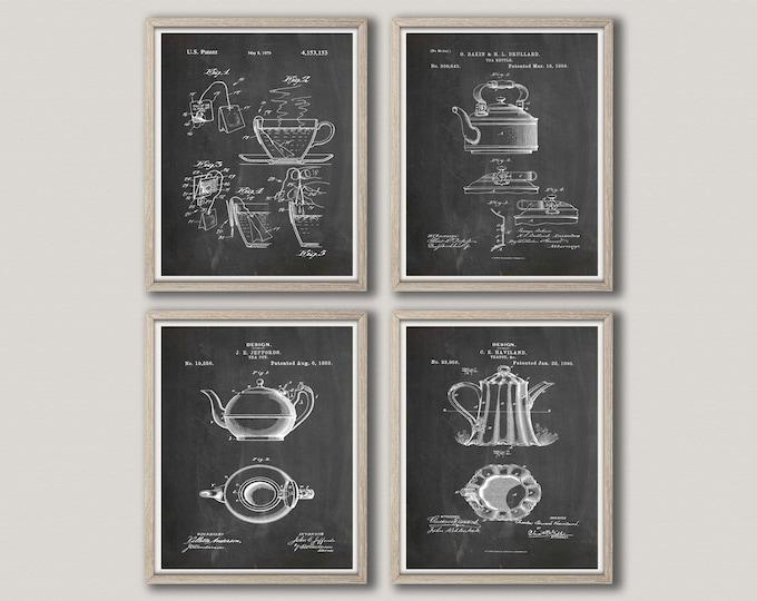 Tea Print Tea Patent Prints Set of 4 Tea Prints Tea Art Tea Room Decor Tea Decor Tea Pot Print Vintage Tea Pot Tea Wall Art WB272-WB275