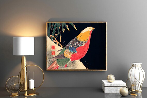 Rare Japanese Print Japanese Decor Japanese Minimalist Decor The Golden Pheasant