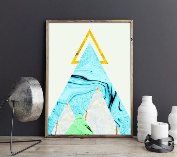 Marble Decor - Marble Wall Art - Triangular Marble Print - Large Marble Poster