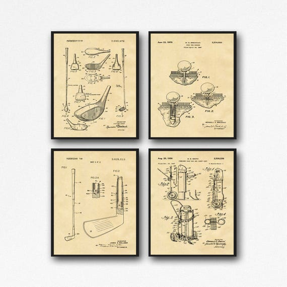 Golf Poster Set of 4 Golf Patent Prints Golf Wall Art Golfer Gifts Golf Print Gift for Golfer Golf Decor Club House Decor Golf Tee WB198