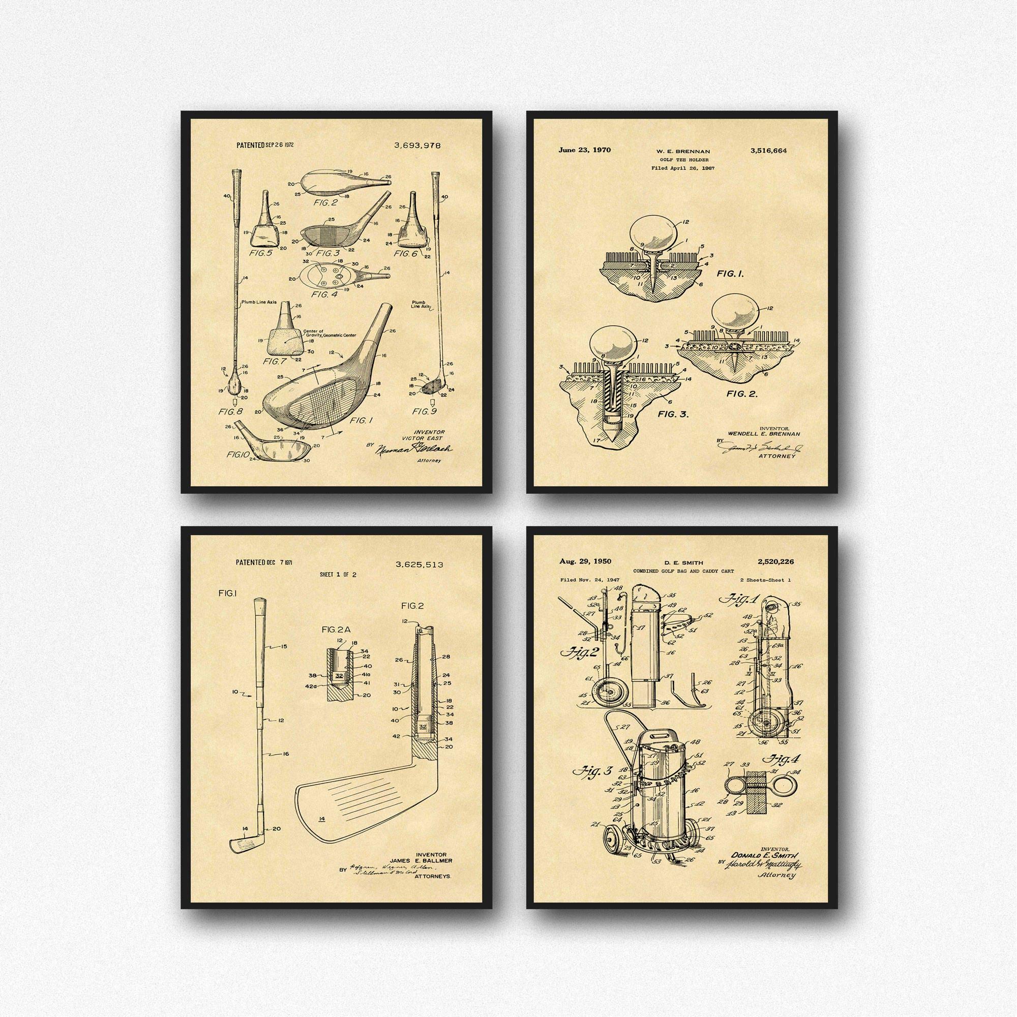 Golf Poster Set of 4 Golf Patent Prints Golf Wall Art Golfer Gifts ...