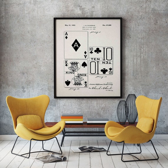 Playing Cards Invention Patent Print Games Room Decor WB470