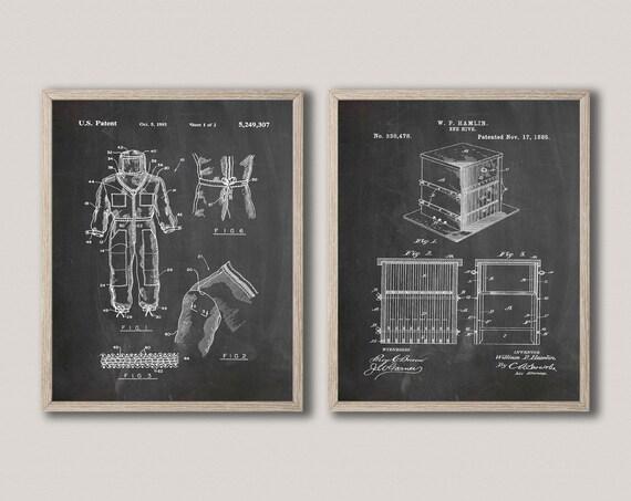 Beekeeper Patent Prints Set of 2 Beekeeper Posters WB516-517