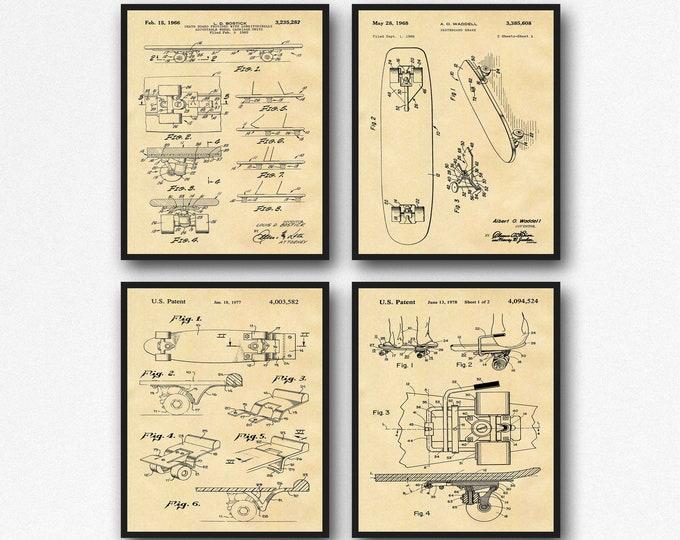 Skateboard Poster Gift Set of 4 Skateboarding Blueprints