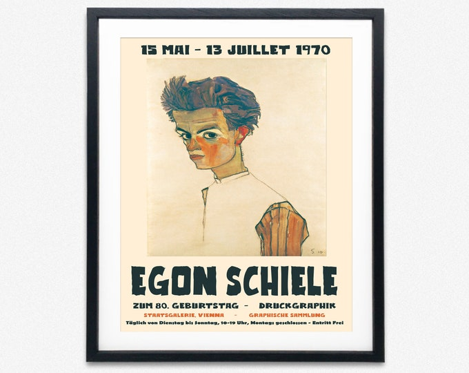 Egon Schiele Exhibition Poster 1970 Museum Poster