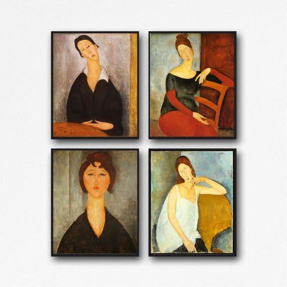 Maximalism Decor Modern Portrait Painting Set of 4 Modern paintings by Amedeo Modigliani Italian Portrait